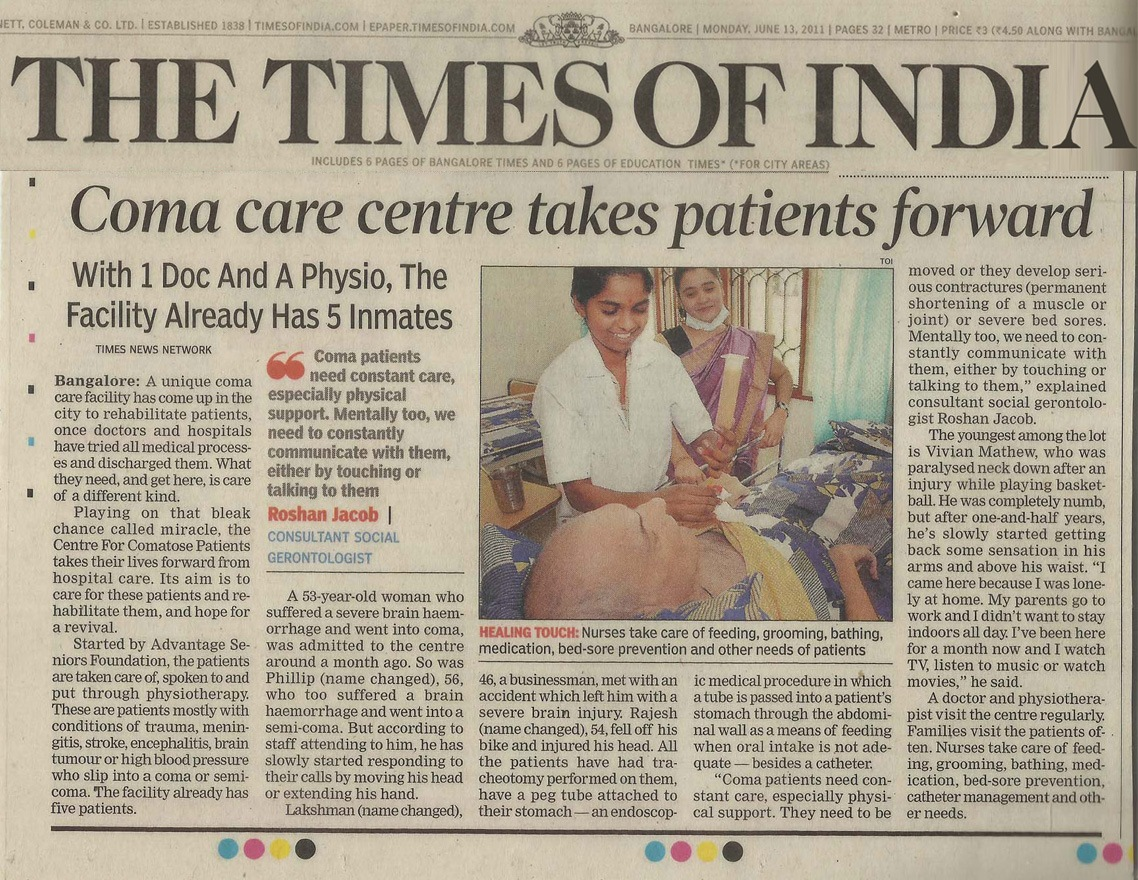 Coma care centre takes these patients forward - TNN | Jun 13, 2011, 12.37AM